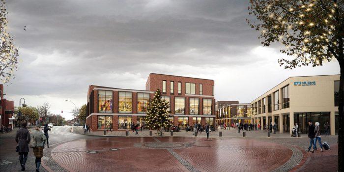 Neubau eines Einkaufszentrums mit Gewerbe- und Wohnflächen