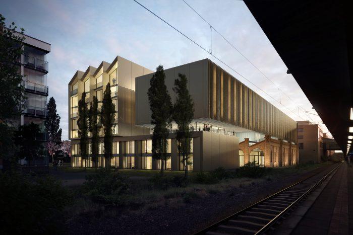 Umbau der denkmalgeschützten Wagenhalle neben dem Potsdamer Hauptbahnhof zu einem Hotel.
